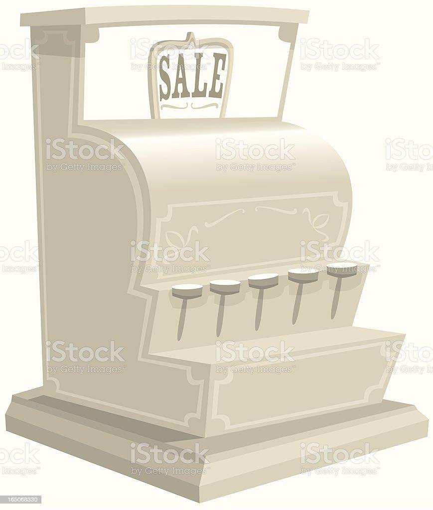 Old fashioned cash register till vector art illustration