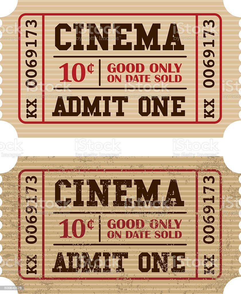 Old Fashioned Cinema Ticket Stub Icon vector art illustration