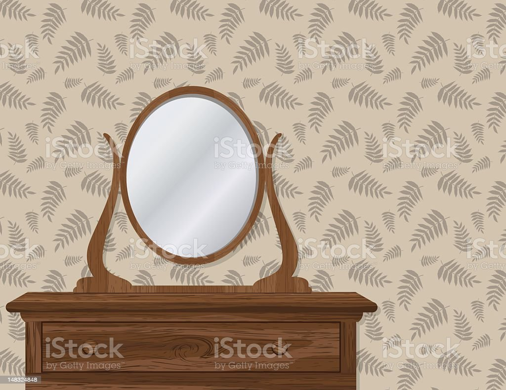 Old Fashioned Dresser with Wallpaper royalty-free stock vector art