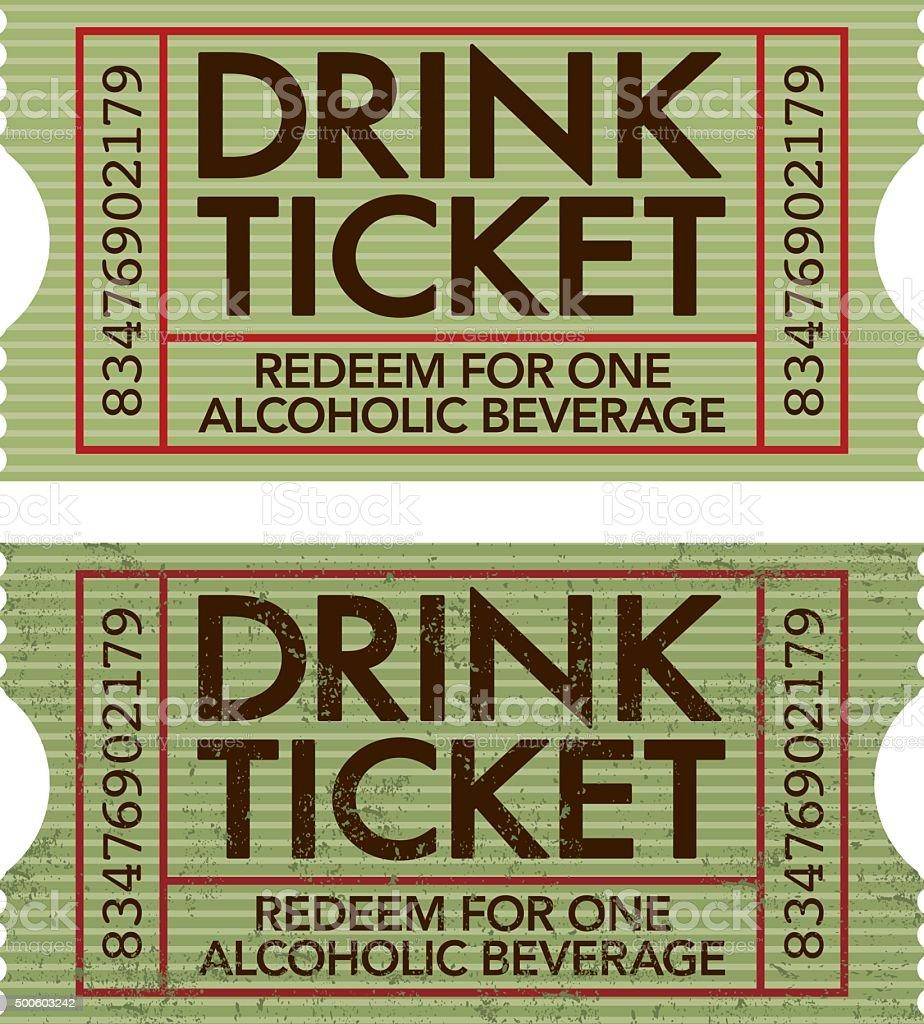Old Fashioned Drink Ticket Stub Icon vector art illustration