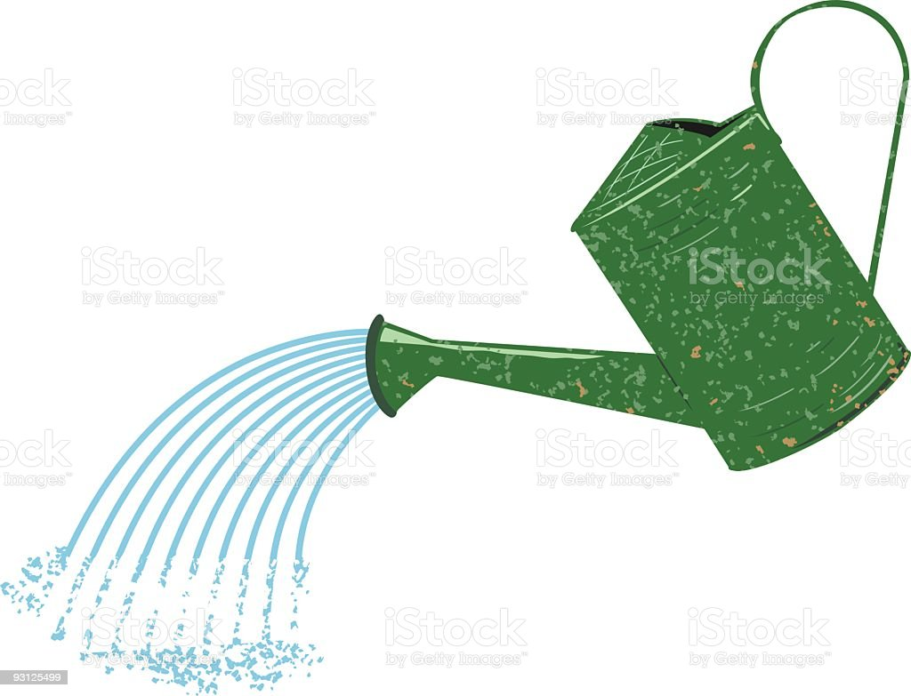 Old Fashioned Green Speckled Watering Can Pouring Water royalty-free stock vector art