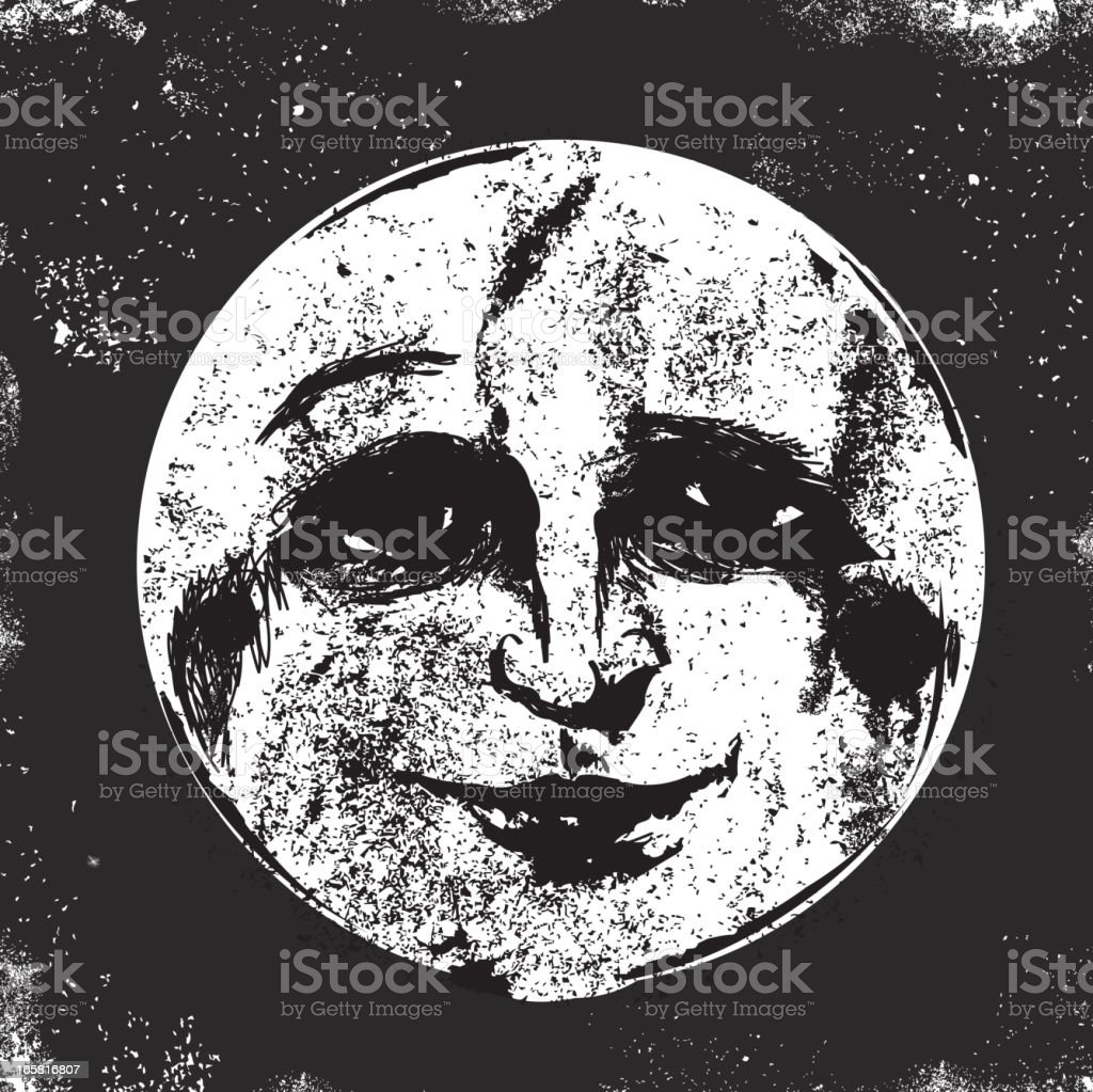 Old fashioned man in the moon face vector art illustration