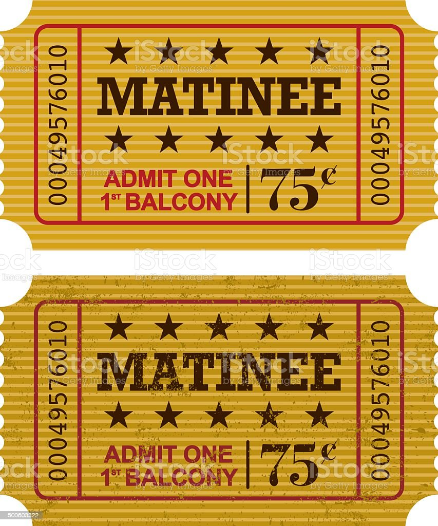 Old Fashioned Matinee Ticket Stub Icon vector art illustration