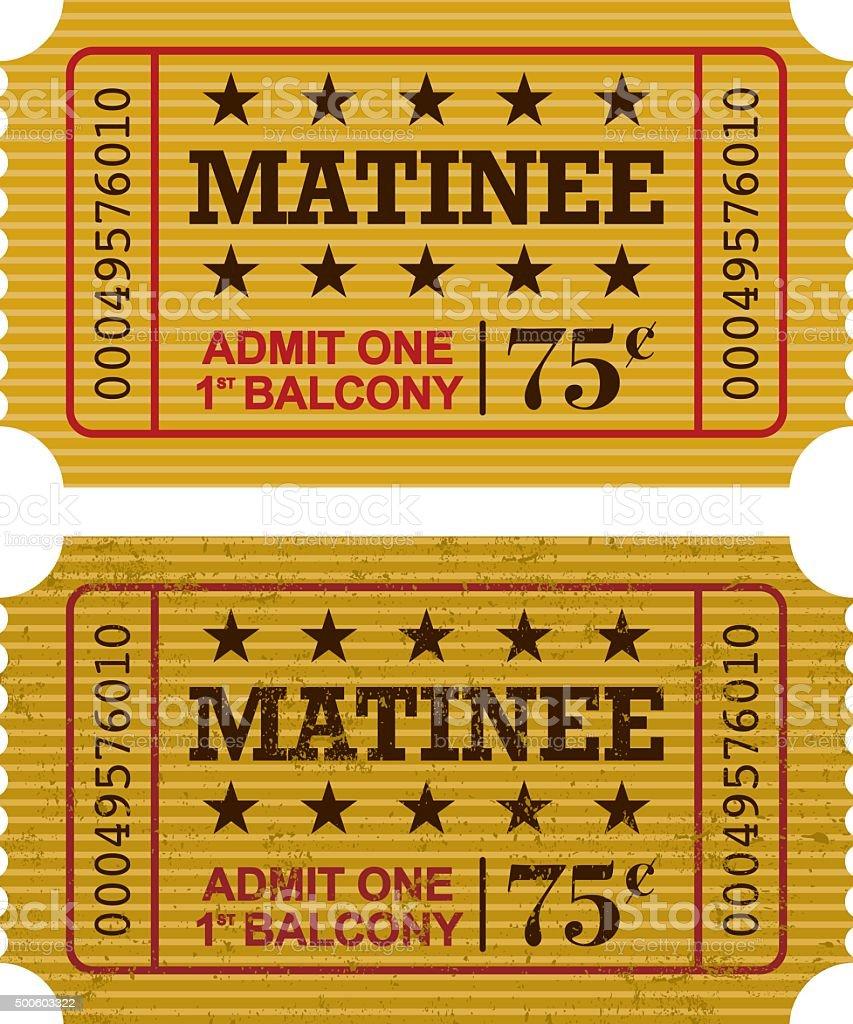 Old Fashioned Matinee Ticket Stub Icon vector art illustration