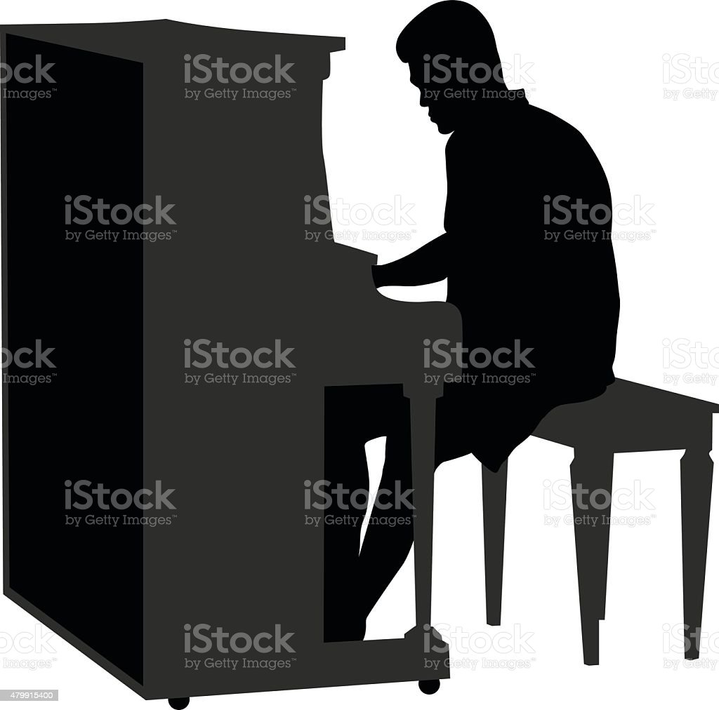 Old Fashioned Piano vector art illustration