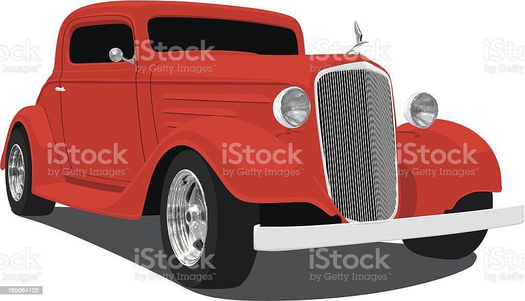 Old fashioned red car animation vector art illustration