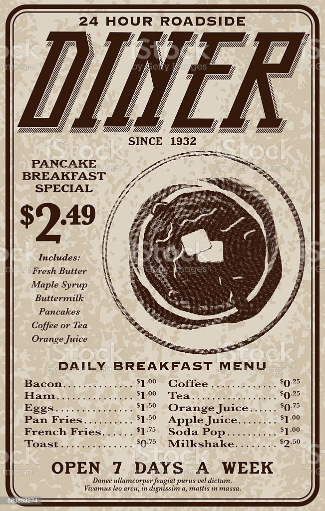Old Fashioned Retro Roadside Diner Advertisement vector art illustration