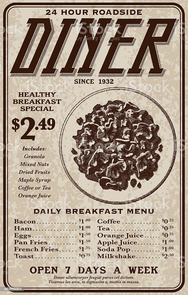 Old Fashioned Retro Roadside Diner Advertisement vector art illustration