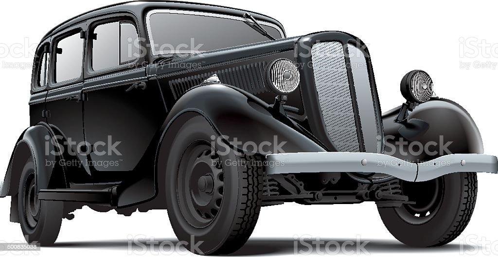 Old fashioned Soviet car vector art illustration