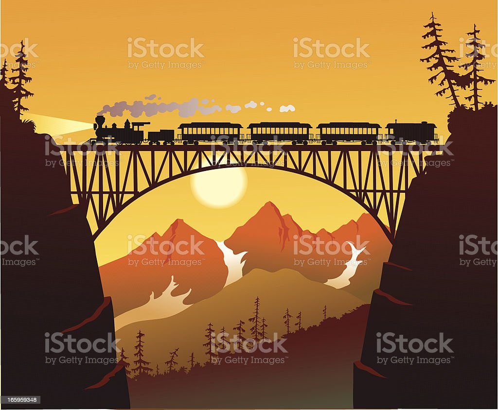 Old Fashioned Steam Train Crossing the Mountain Bridge royalty-free stock vector art