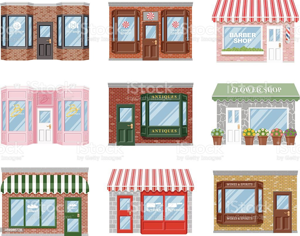 Old Fashioned Storefront Icon Set vector art illustration