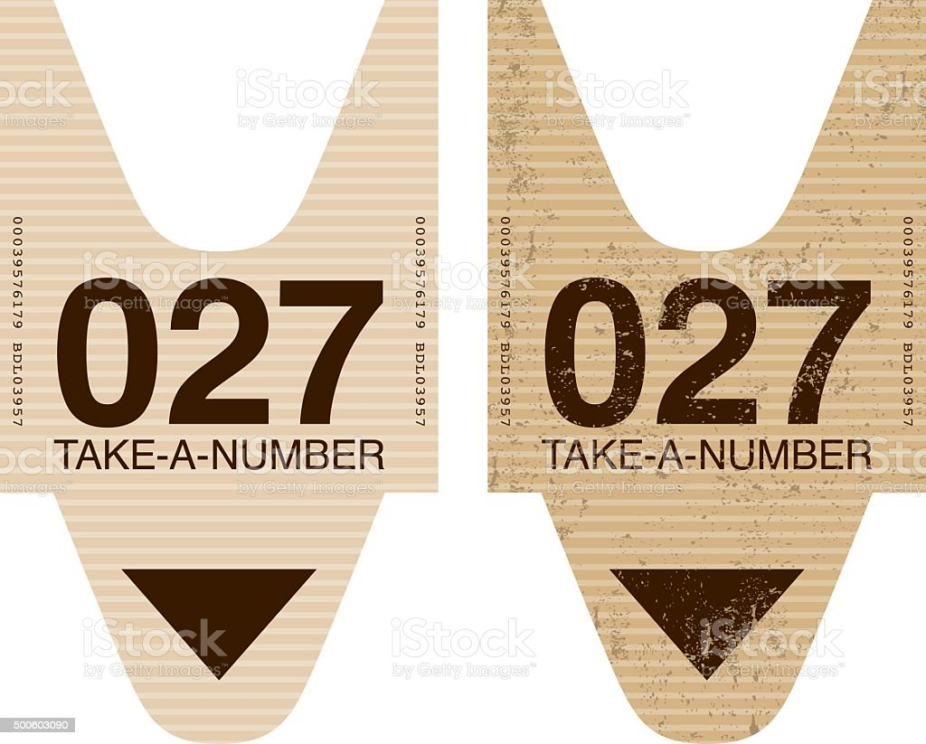 Old Fashioned Take A Number Ticket Stub Icon vector art illustration