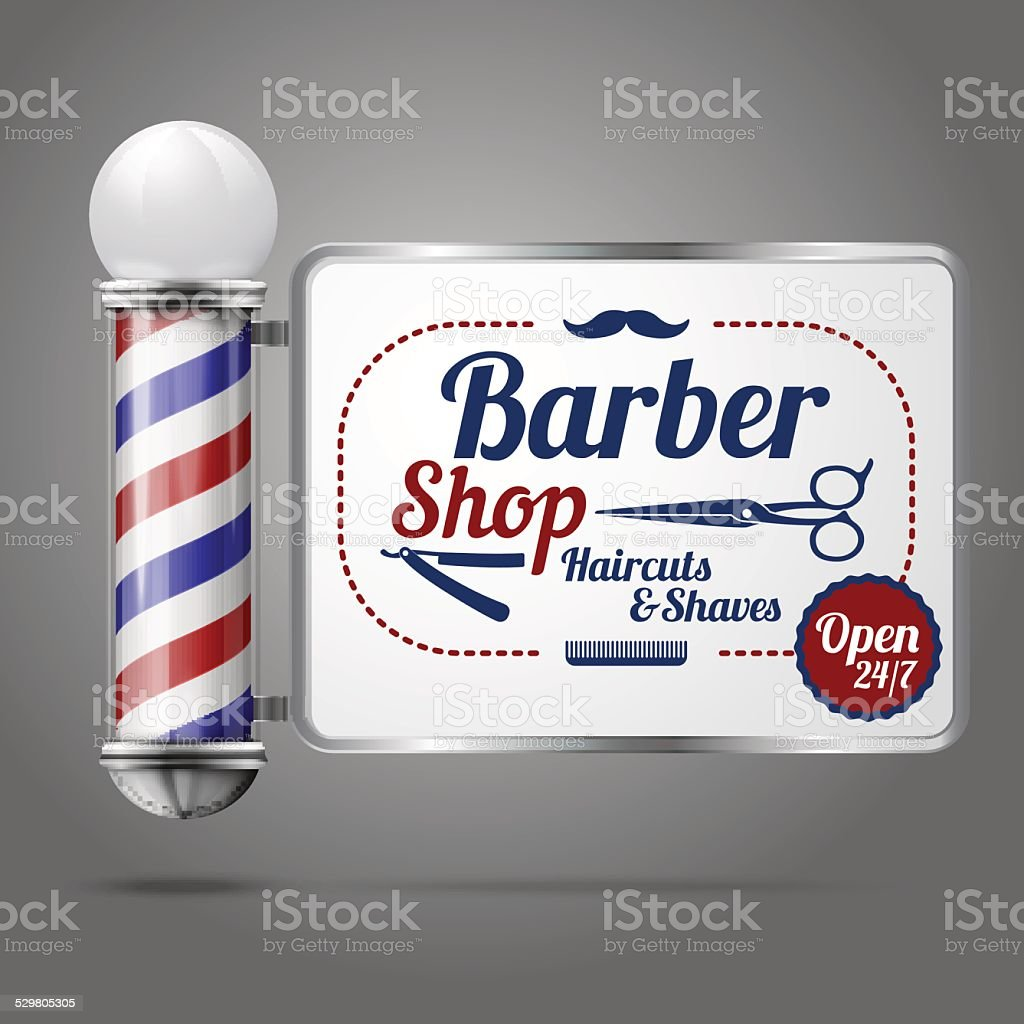 Old fashioned vintage silver and glass barber shop pole vector art illustration