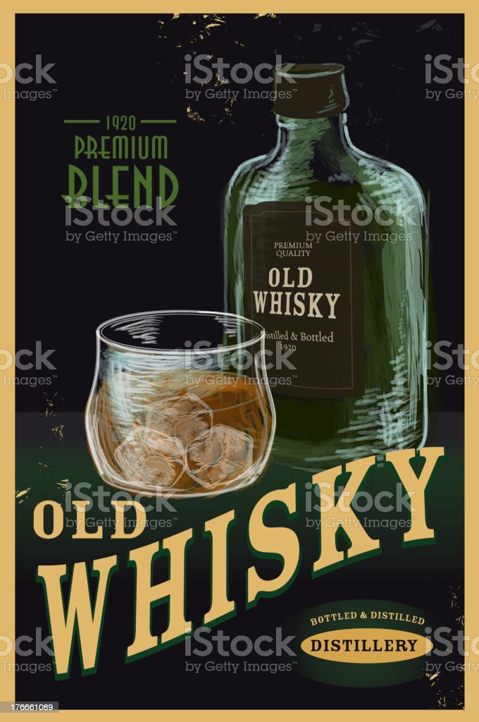 Old fashioned Whiskey Advertisement poster vector art illustration