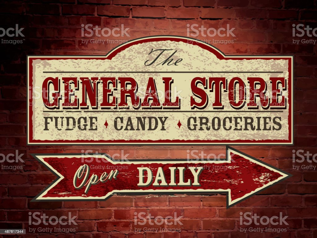 Old fashioned wooden General Store signage on brick wall vector art illustration