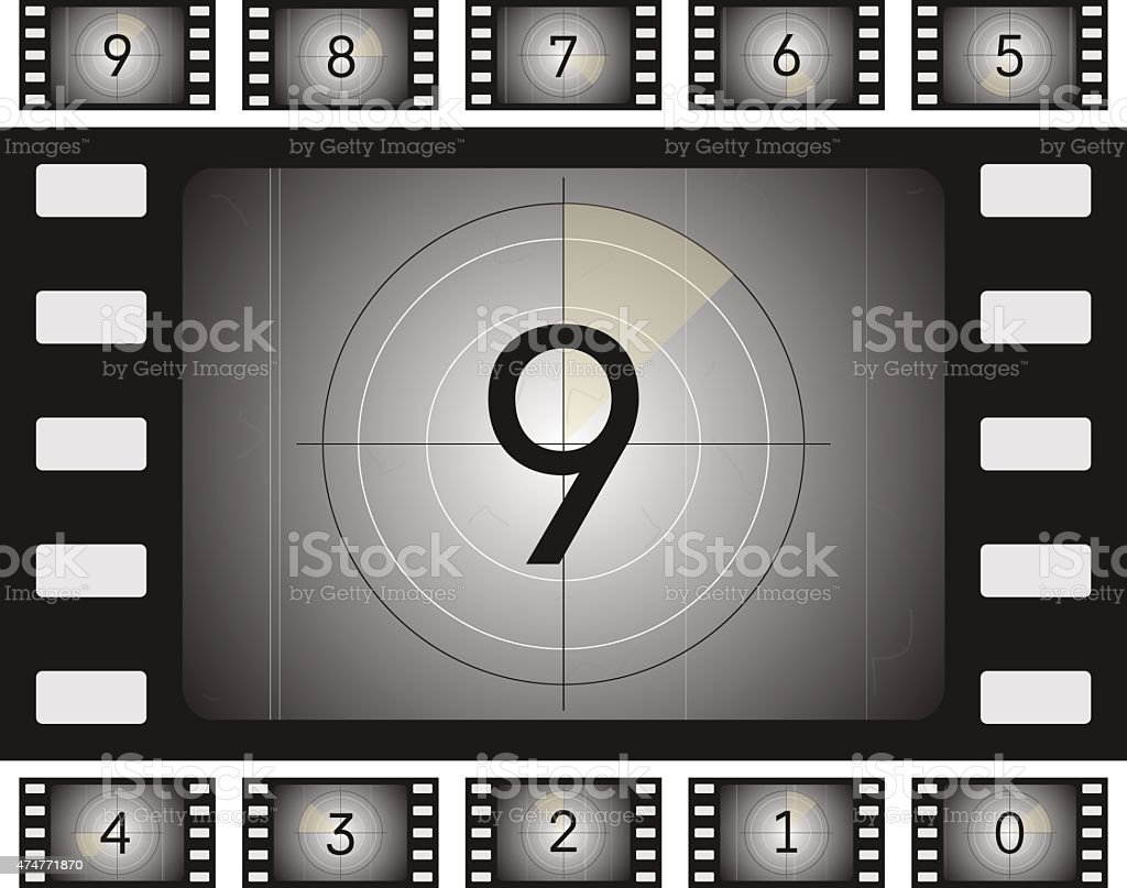 old film countdown vector art illustration
