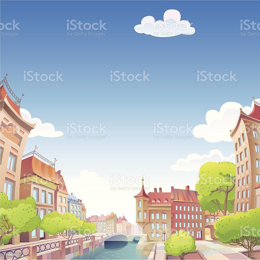Old good European city royalty-free stock vector art
