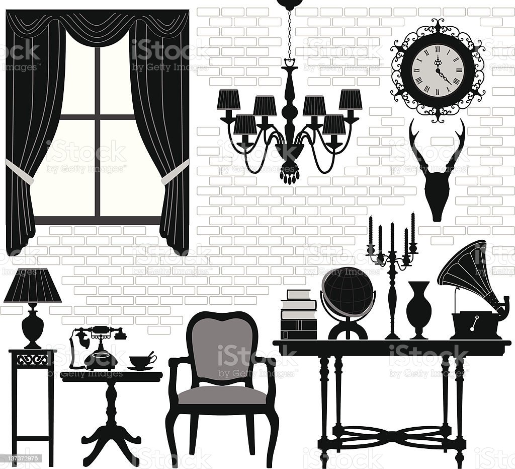 Old Grandfather Room Antique Retro Living Hall Furniture vector art illustration