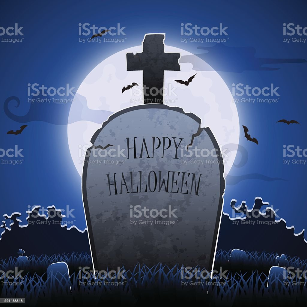 Old gravestone at night with happy halloween word in cemetery vector art illustration