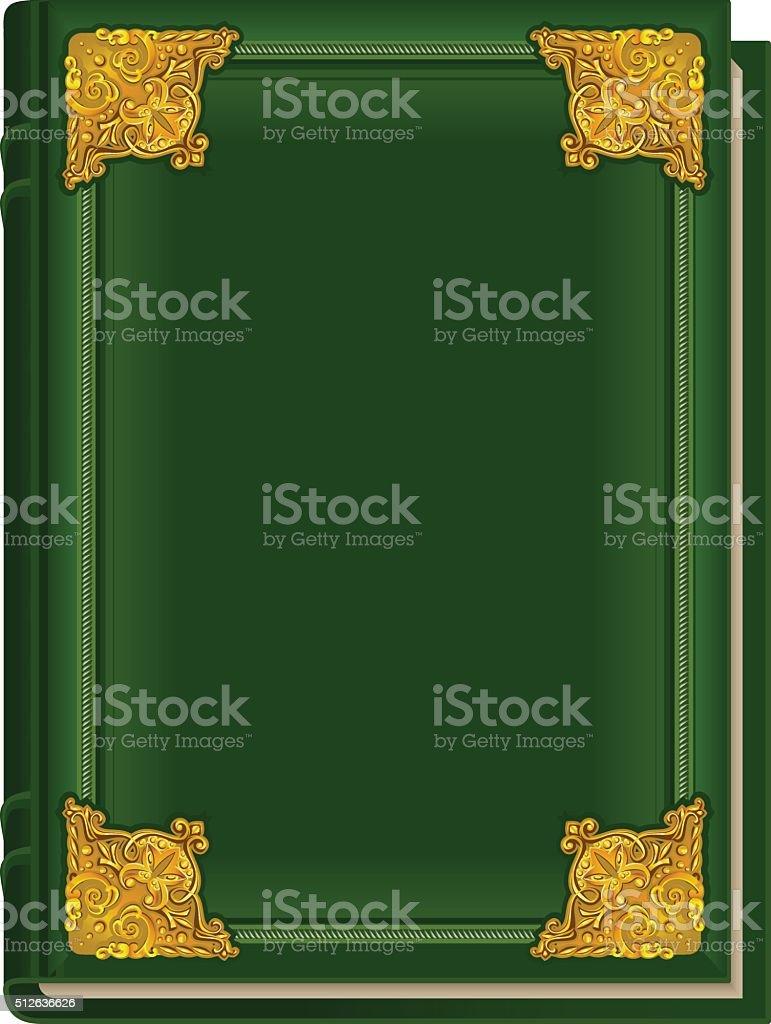 Old green book Koran. Holy Quran. Closed book golden lining vector art illustration