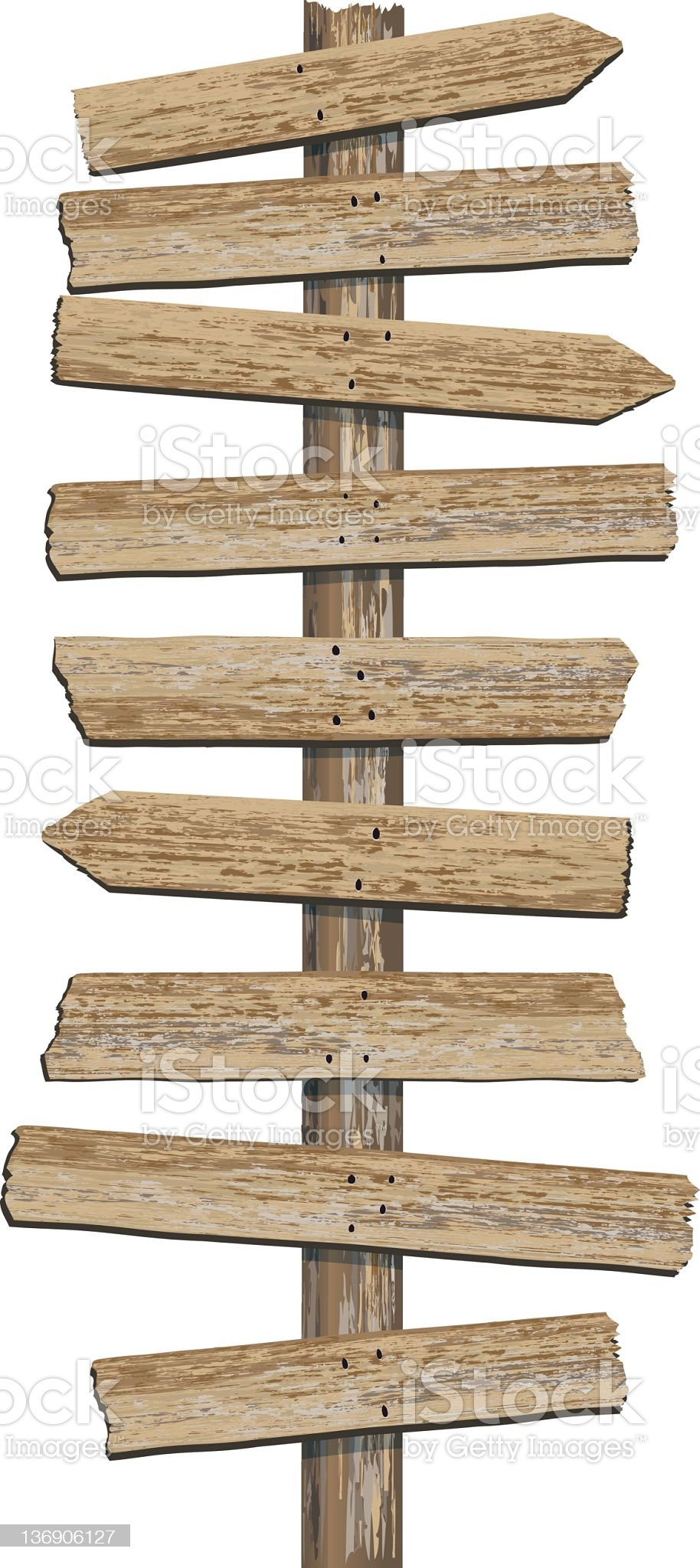 Old Grungy Woodgrain Textured Directional Sign with multiple planks royalty-free stock photo
