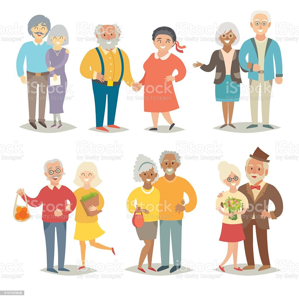 Old happy family. Pensioner happy family. Cartoon characters vector art illustration