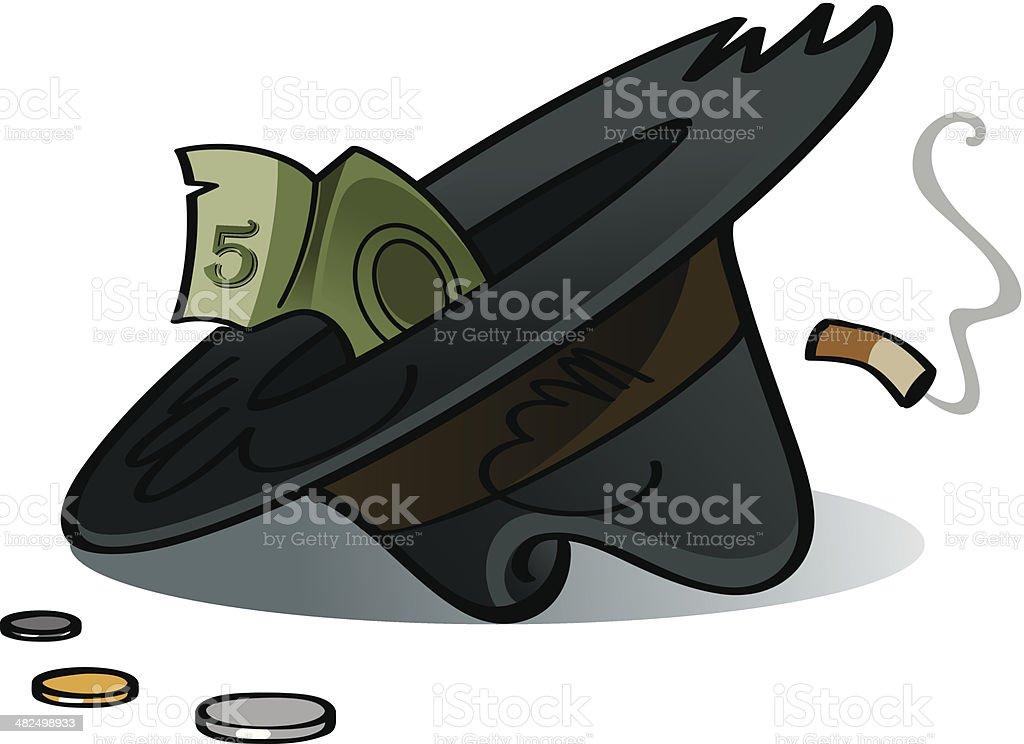 Old hat of beggar vector art illustration