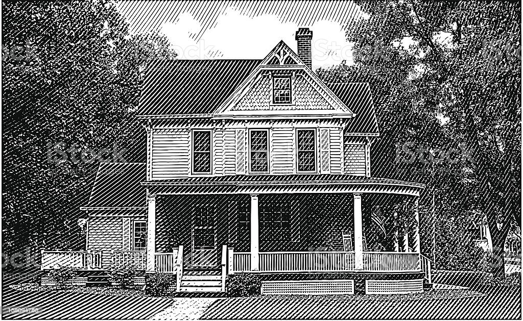 Old Home with Porch vector art illustration