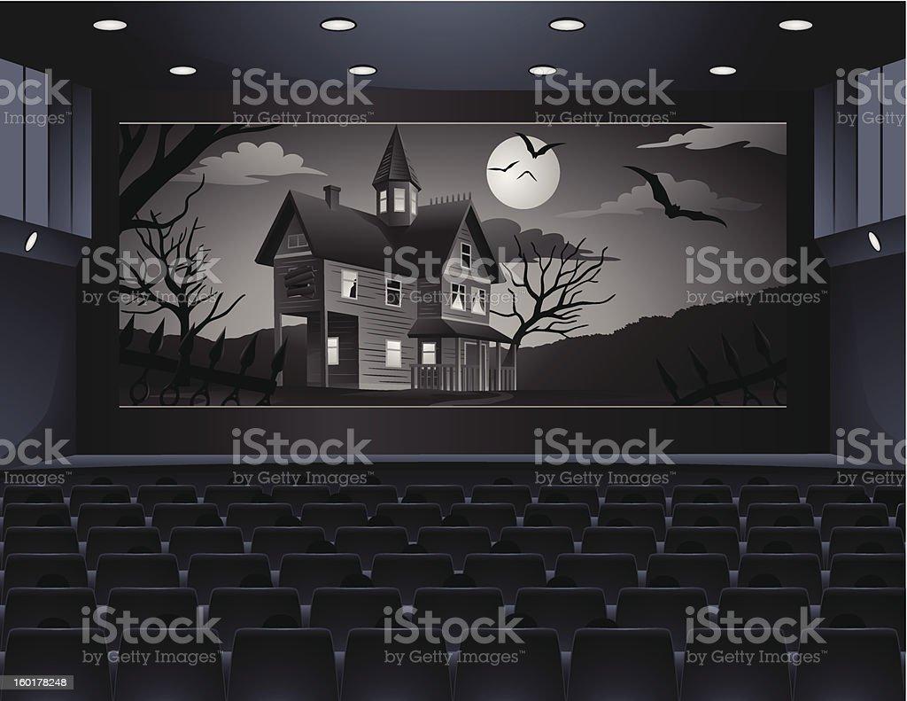 Old Horror Movie in Cinema vector art illustration