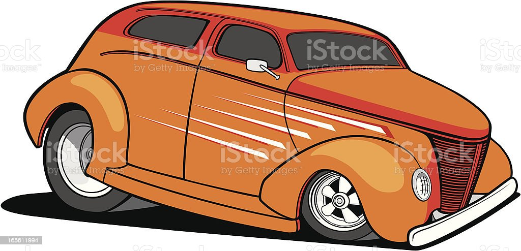 old hot rod vector art illustration