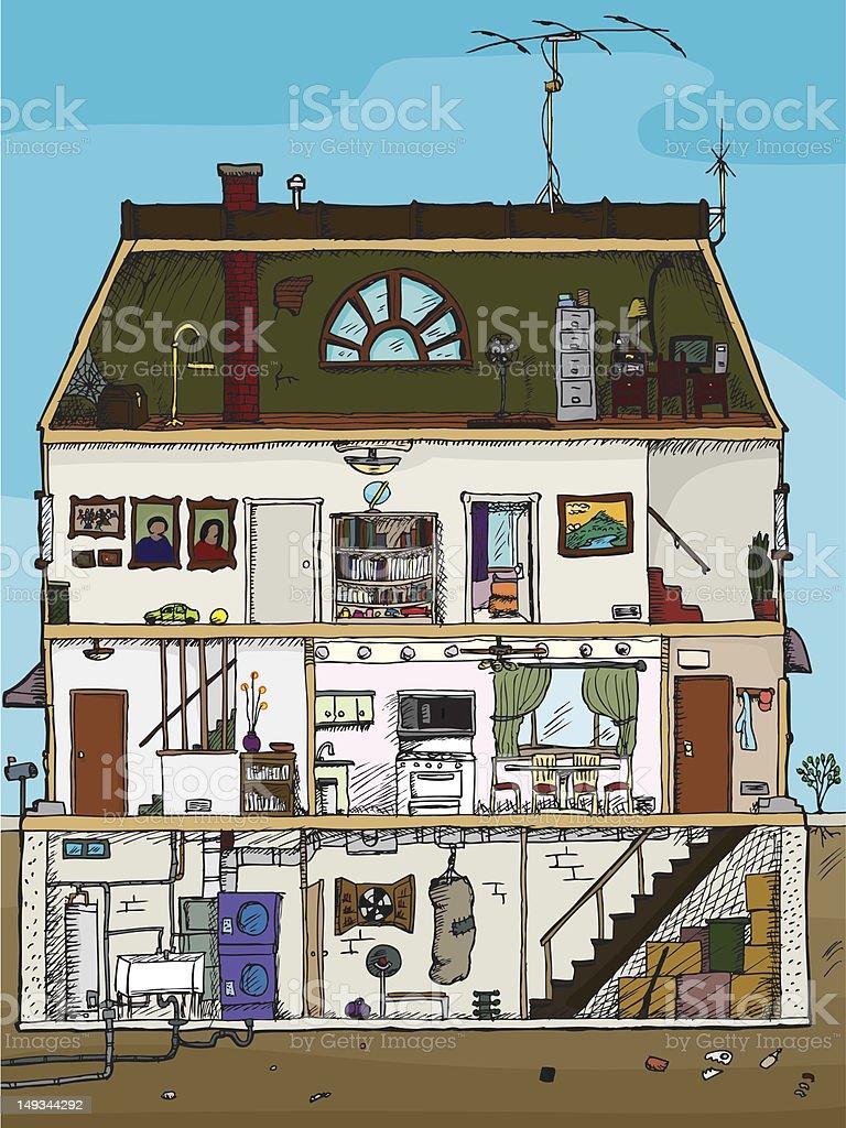 Old House Cross Section vector art illustration