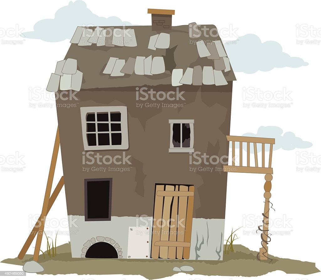 Old house vector art illustration