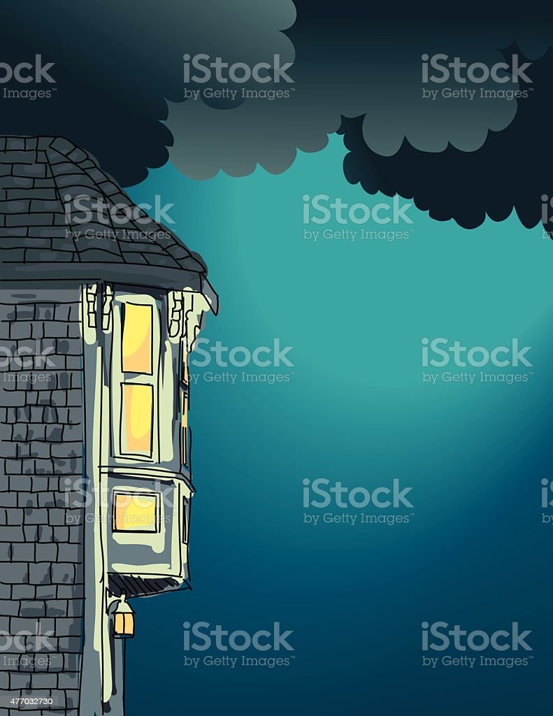 Old House With Lighted Windows In The Night vector art illustration