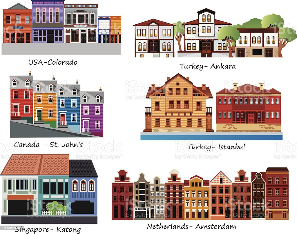 Old Houses vector art illustration