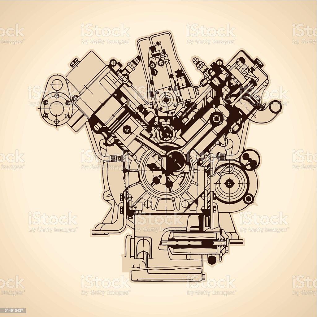 Old internal combustion engine, drawing. Vector vector art illustration