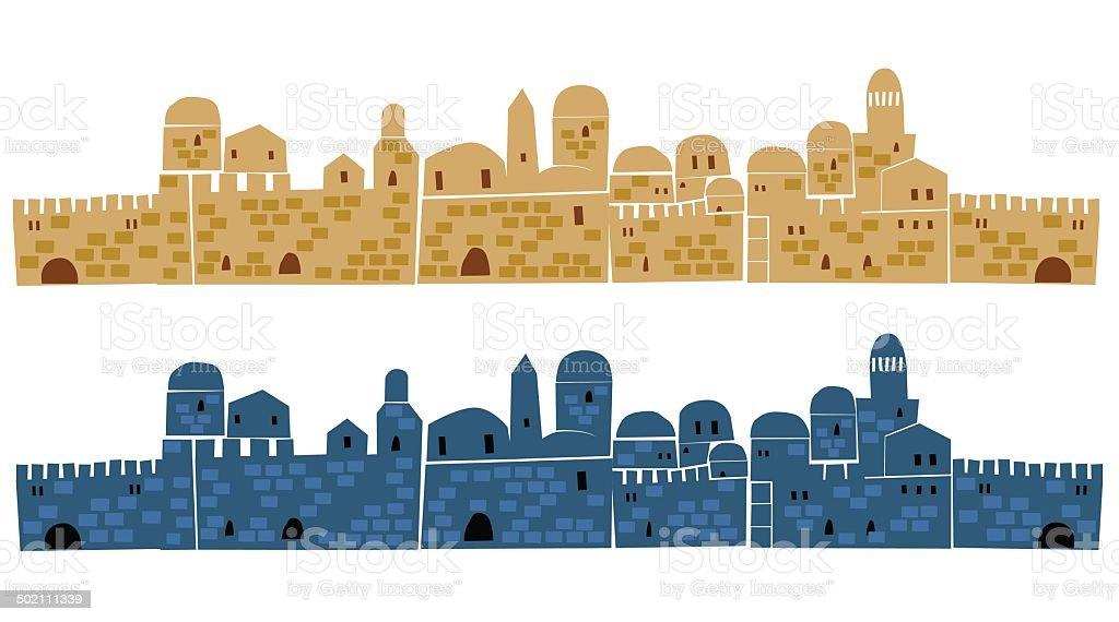 Old Jerusalem At Day and Night, Illustration vector art illustration