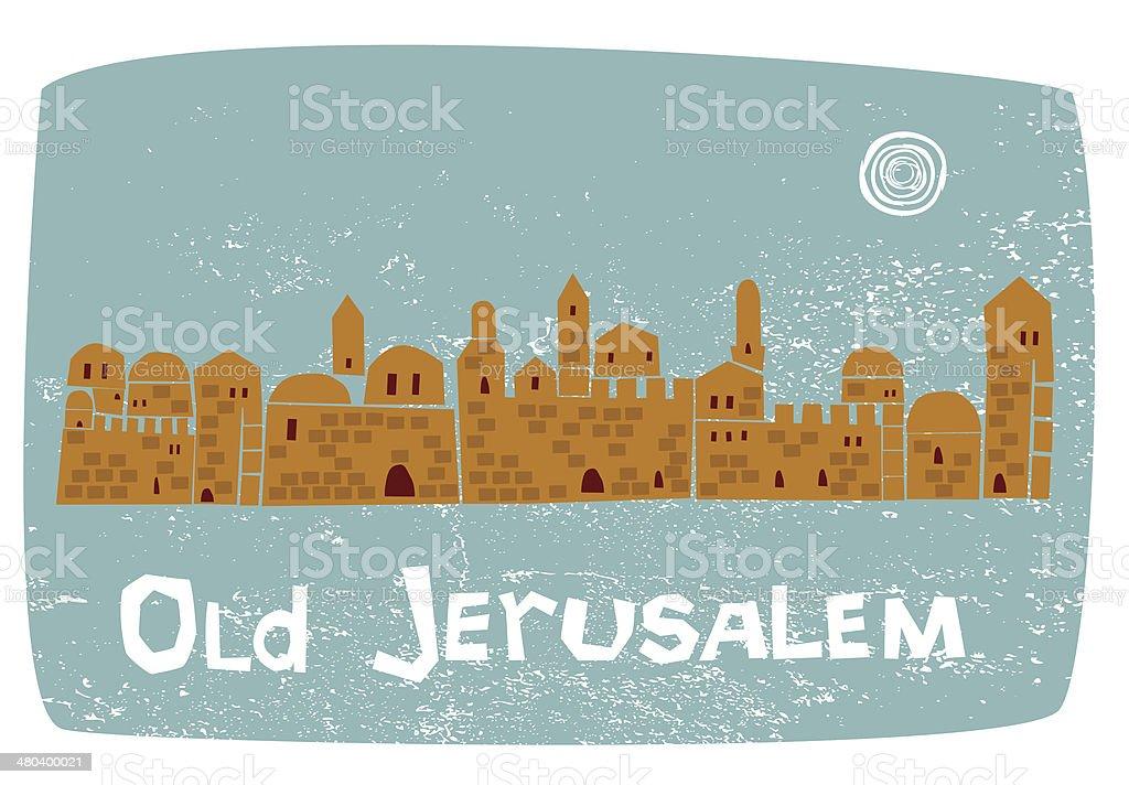 Old Jerusalem On Grunge Background, Illustration vector art illustration