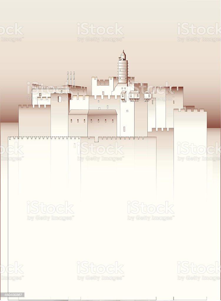 Old Jerusalem vector art illustration