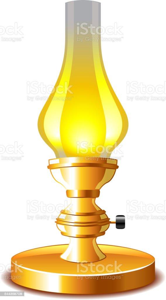 Old kerosene lamp isolated on white vector vector art illustration