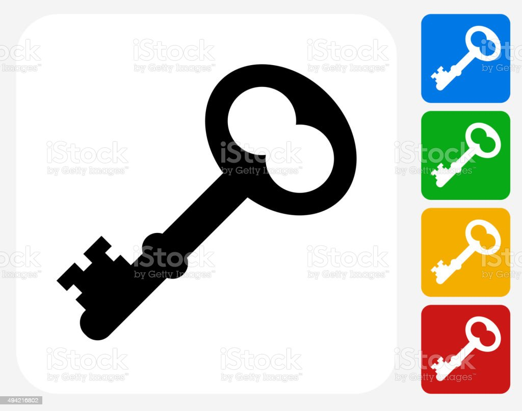 Old Key Icon Flat Graphic Design vector art illustration