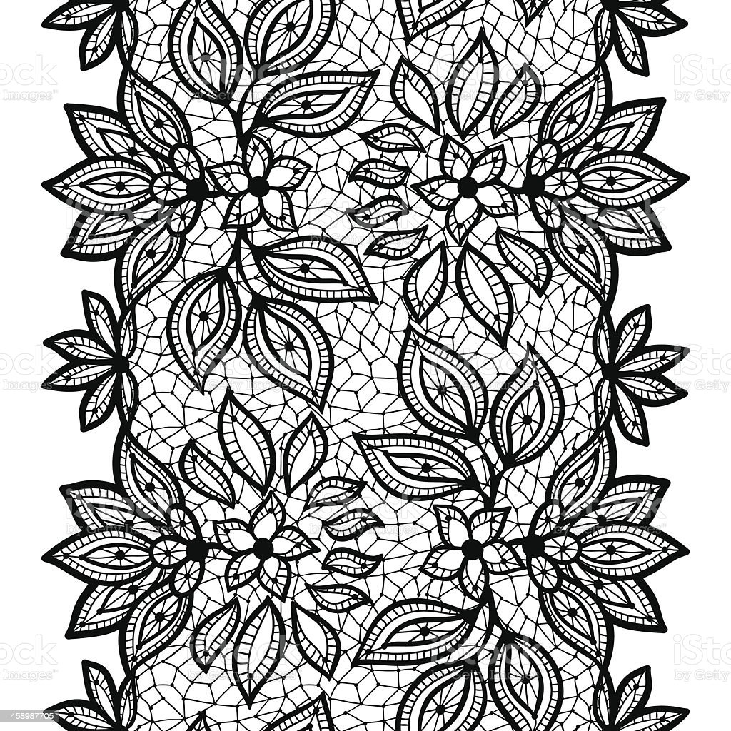 Old lace seamless pattern, ornamental border. Vector texture. vector art illustration