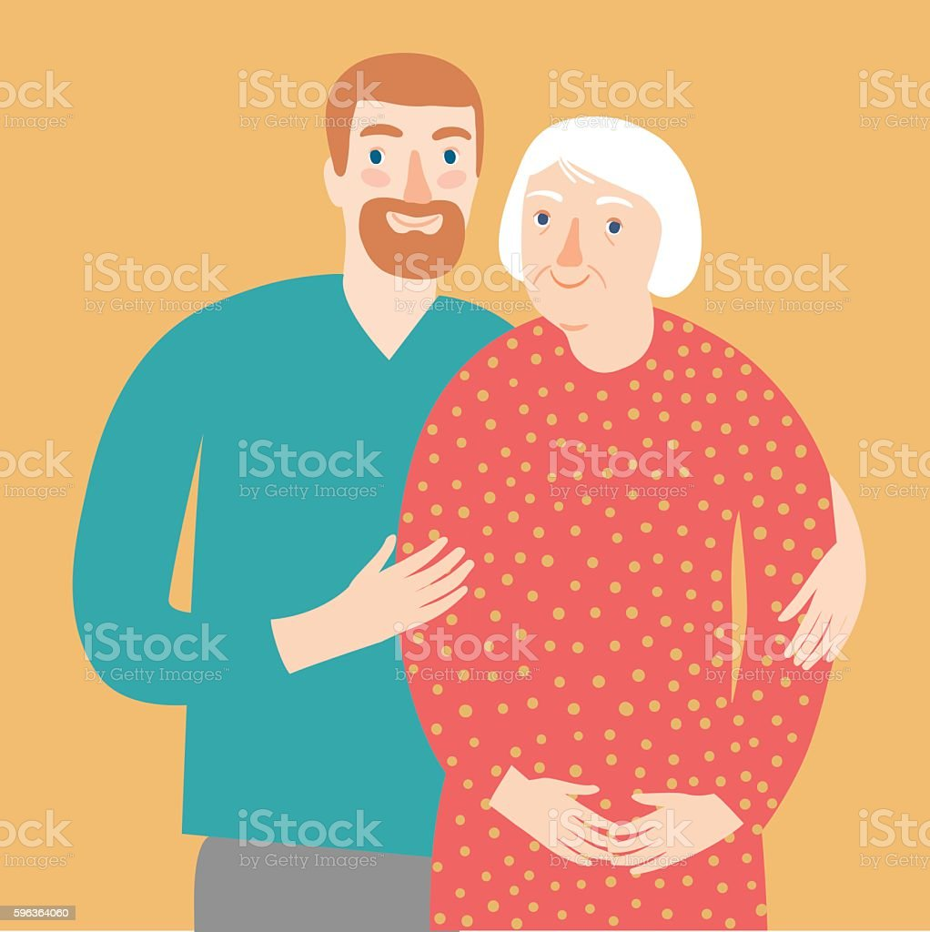 Old lady and young man. Family illustration vector art illustration