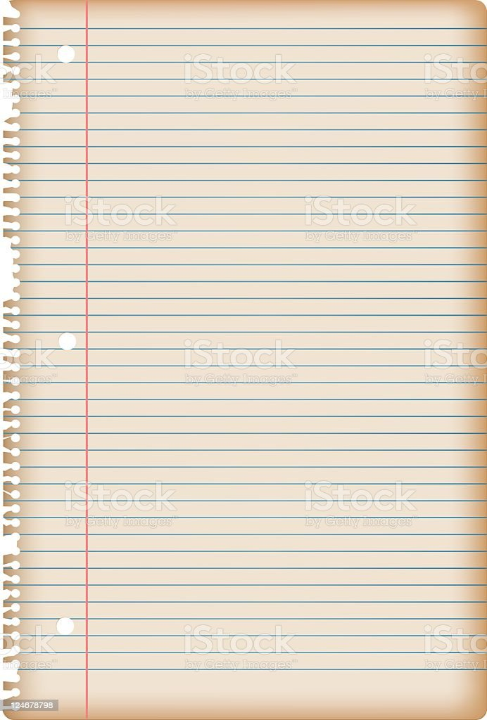 Old lined paper sheet torn from notebook royalty-free stock vector art