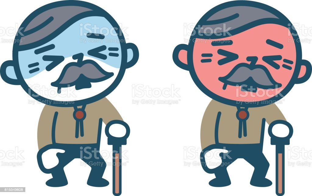 Old male with poor condition vector art illustration