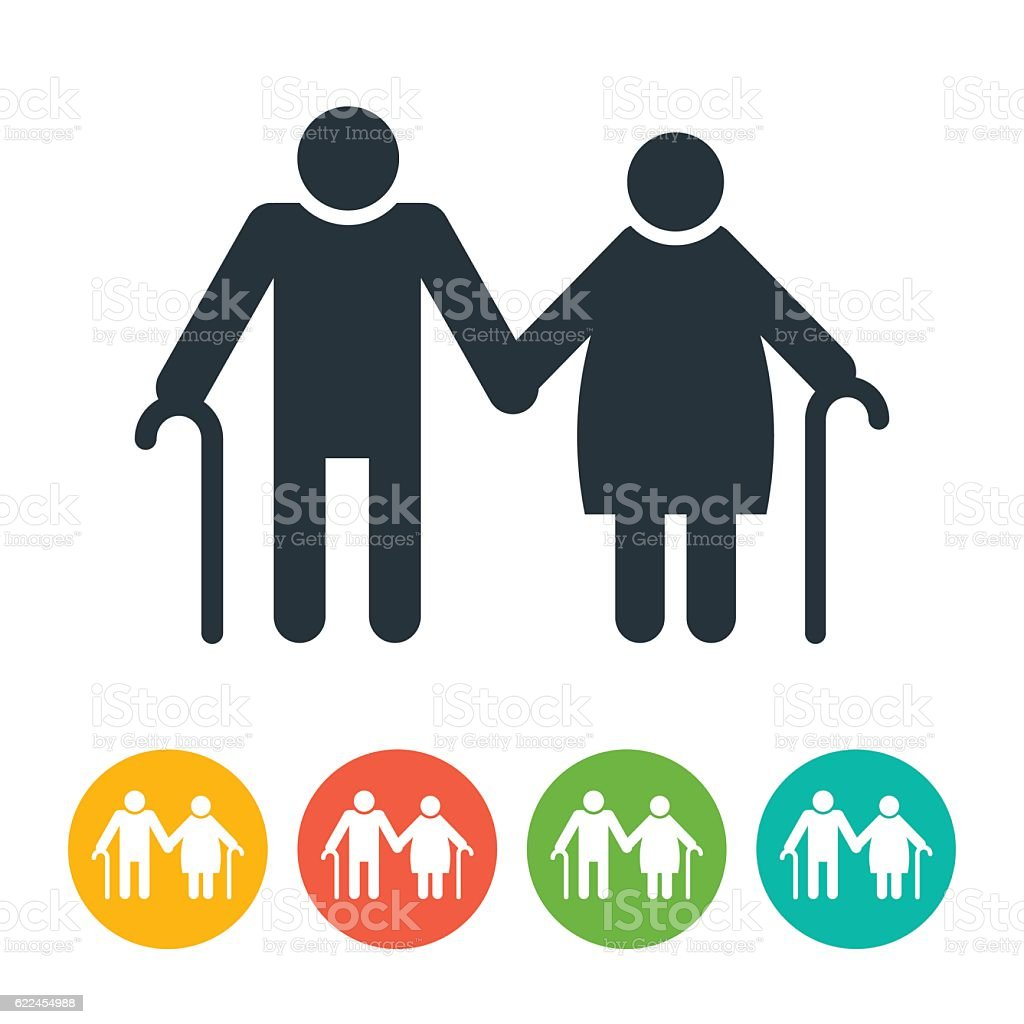 Old Man and Old Woman Icon vector art illustration