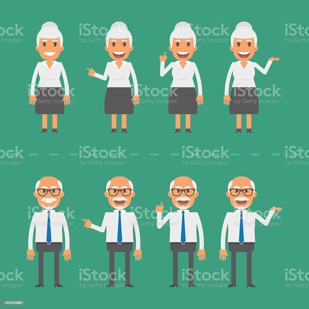 Old man and woman in various poses vector art illustration