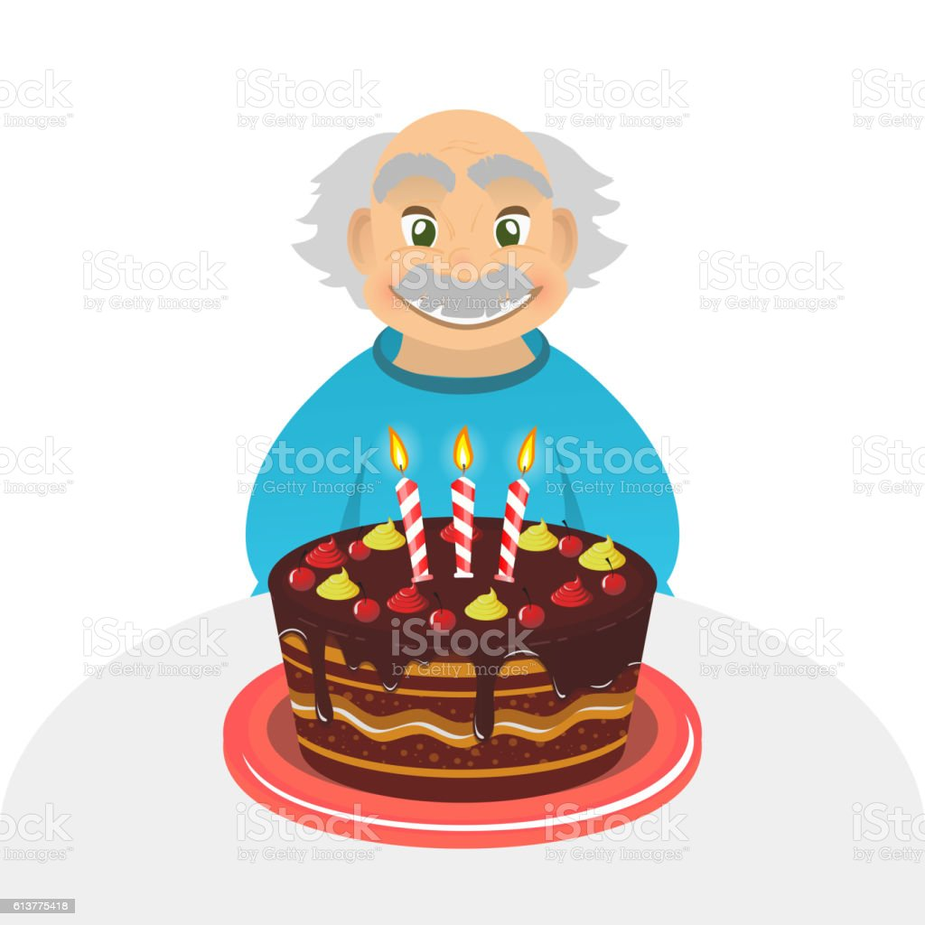 Old man birthday. Senior man. Chocolate cake. Grandfather Portrait . vector art illustration