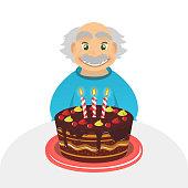 Old man birthday. Senior man. Chocolate cake. Grandfather Portrait .