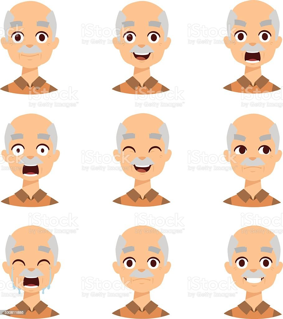 Old man emotions vector icons vector art illustration