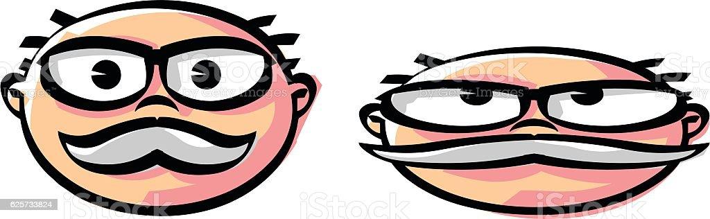 Old man face animation vector art illustration